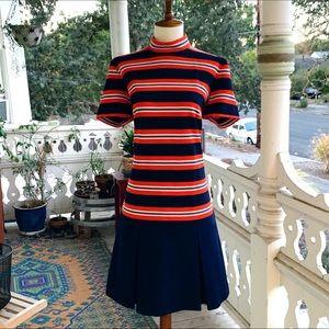 Vintage 60s Mod Striped Mock Neck Dropwaist Dress